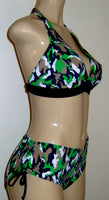 Seam halter bikini top and tie sides bottom