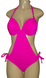 Halter top monokini with underwire push up top