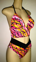 Triangle top short tankini and High waisted bikini bottom