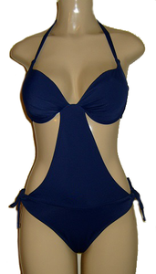 Navy push up monokini with scrunched butt on sale