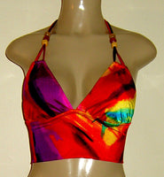Double String Cropped Tankini Top with tie spaghetti neck. Bead neck accent.