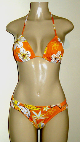 Orange Floral Triangle top and strappy side bottoms on sale.