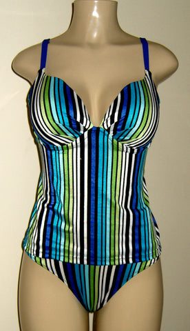 Push Up Tankini Top with open back~Timeless Swimsuit Bottom