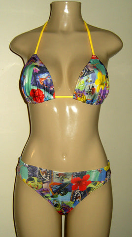 Bikini set on sale. Floral Triangle top and timeless bottom