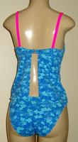 Open back underwire tankini and low rise bikini bottom