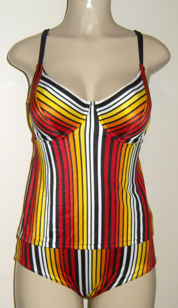 Supportive high back tankini and high waist bottom