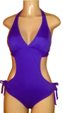 Halter tie hip purple monokini
