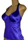 Halter underwire tankini with open back