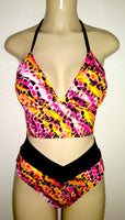 Short tankini triangle top and crossover band bottom