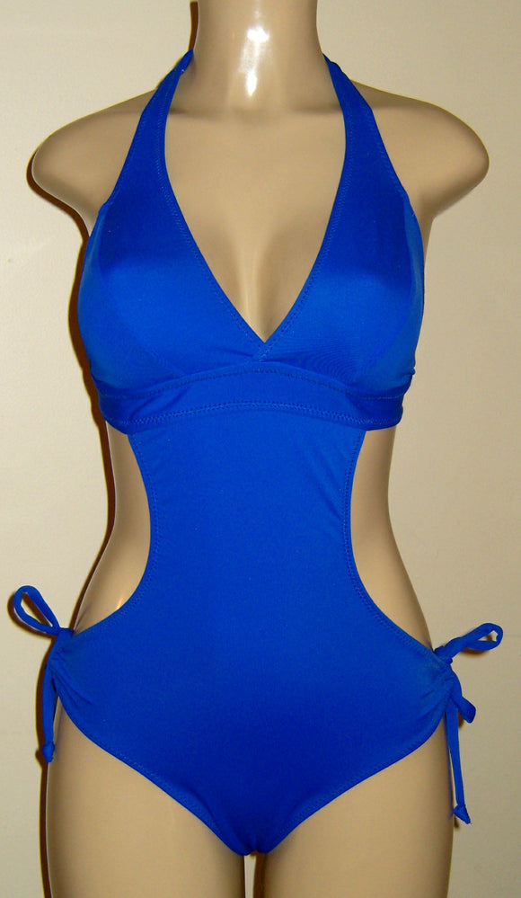 Seamed halter monokini with tie sides
