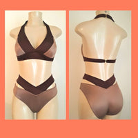 Seam halter bikini top and strappy high waisted bikini bottom