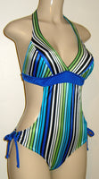 Halter monokini with tie hip sides