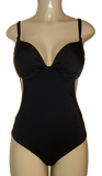 Push up one piece swimsuit with cutaway back