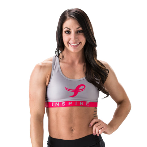 Inspire Performance Breast Cancer Sports Bra Gray