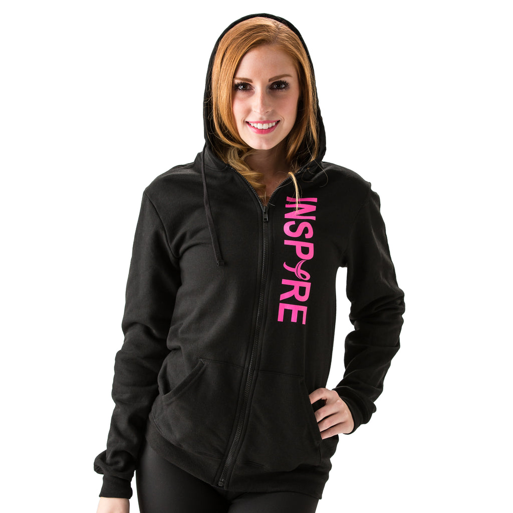 Inspire Unisex Breast Cancer Awareness Zip-up Hooded Sweatshirt