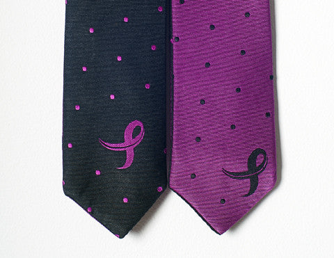Breast Cancer Awareness Polka Dot Skinny Reversible Necktie