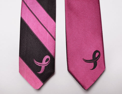 Breast Cancer Awareness Striped Reversible Skinny Necktie