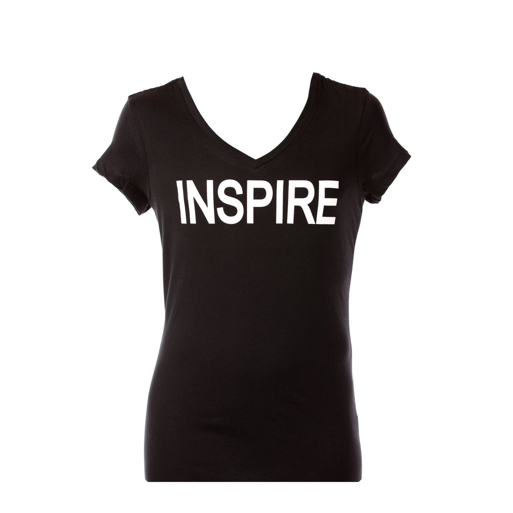 Inspire Black & White Women's V-neck Shirt