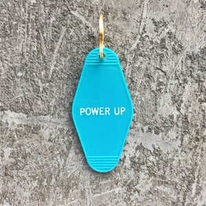 Key Tag - Power Up in Turquoise Blue