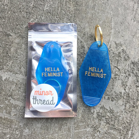 Hella Feminist Key Fob in Translucent Blue Feminism Key Chain by Minor Thread