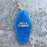 Hella Feminist Key Tag in Translucent Blue