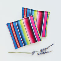 Organic Lavender Sachets in Rainbow Serape Cotton and Natural Linen - Set of 2