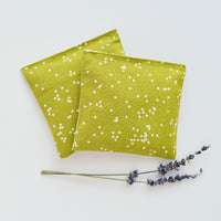 Organic Lavender Sachets in Arroyo Confetti in Pickle Green and Natural Linen Set of 2