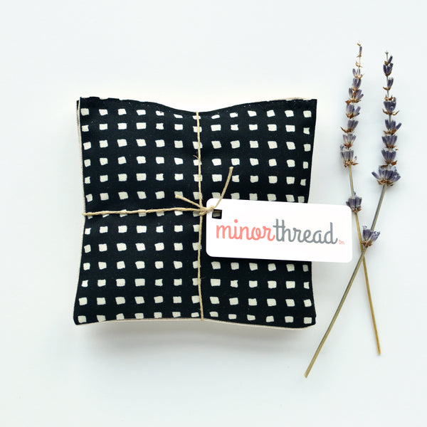 Organic Lavender Sachets in Black and White Squares & Natural Linen
