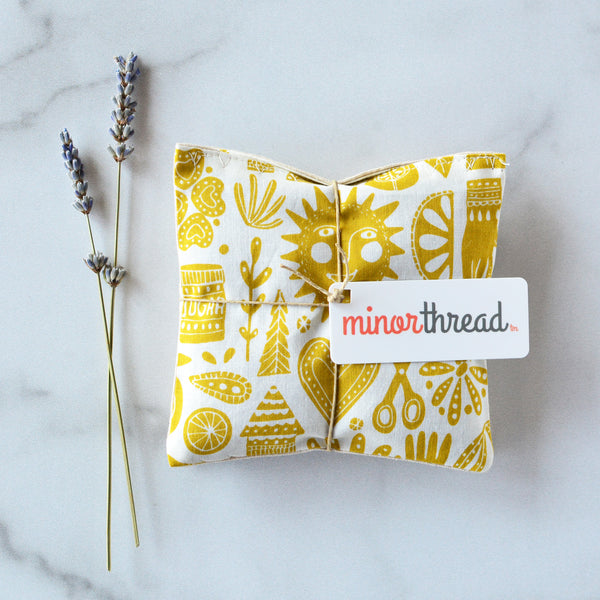 Organic Lavender Sachets in Kindred Fable Gold - Set of 2