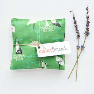 Organic Lavender Sachets in Porto Birds Green - Set of 2