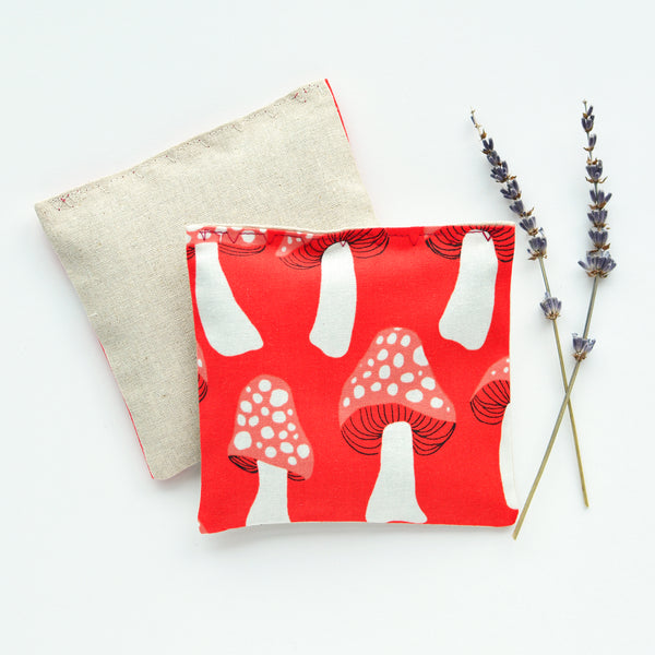 Organic Lavender Sachets in Red Mushroom - Set of 2
