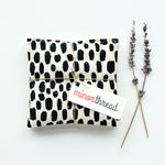 Organic Lavender Sachets in Linen and Black Paint Strokes Set of 2