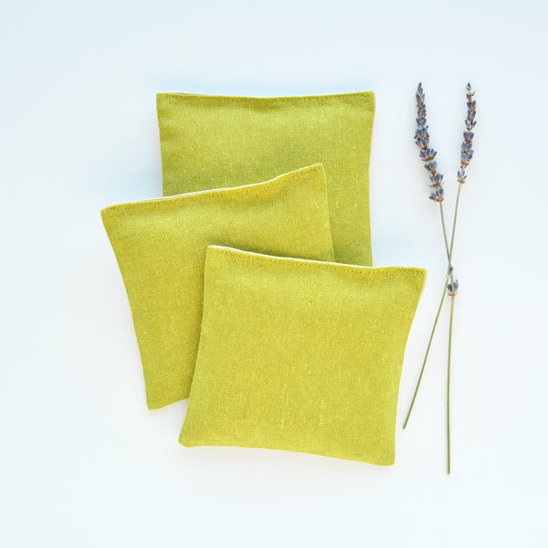 Set of 3 Organic Lavender Sachets in Pickle Linen