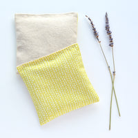 Organic Lavender Sachets in Pale Yellow Dots & Linen - Set of 2