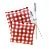 Organic Lavender Sachets in Red Gingham & Linen - Set of 2