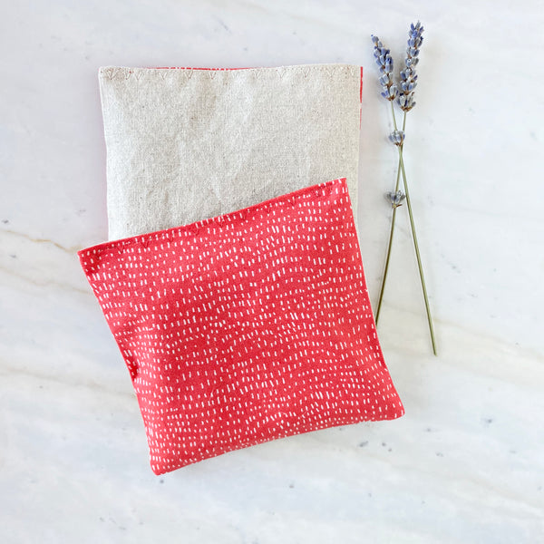 Organic Lavender Pillows in Red Dash and Linen Drawer Sachets Set of 2