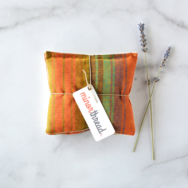 Organic Lavender Pillows in Warm Madras Stripe and Linen Sachets