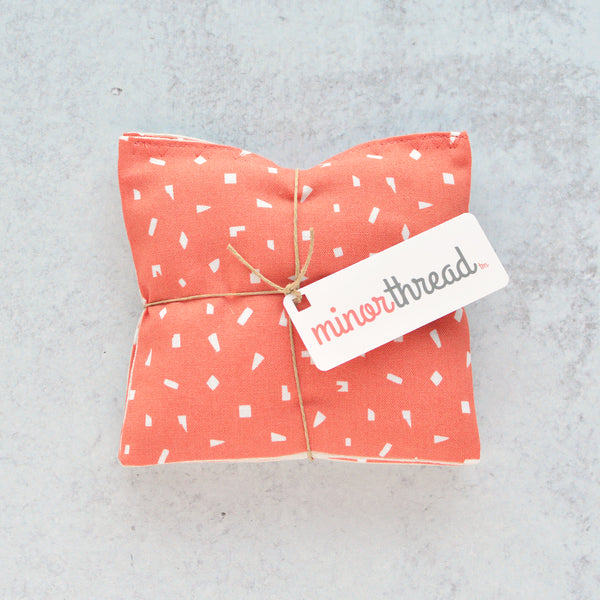 Organic Lavender Sachets in Orange Ditsy Geo - Set of 2