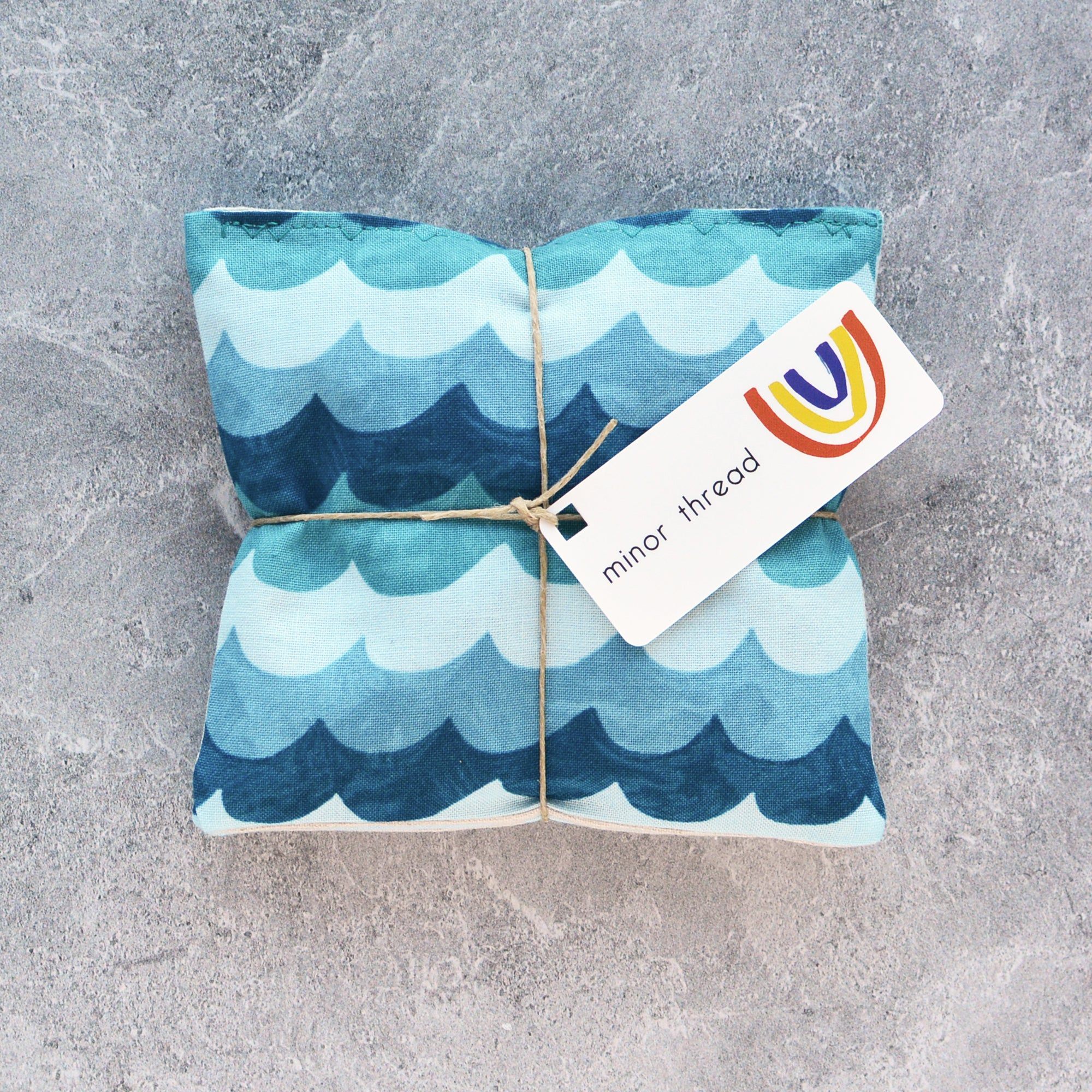 Organic Lavender Sachets in Amalfi Waves Turquoise - Set of 2