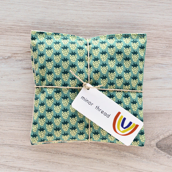 Organic Lavender Sachets - Berry Season in Green - Set of 2