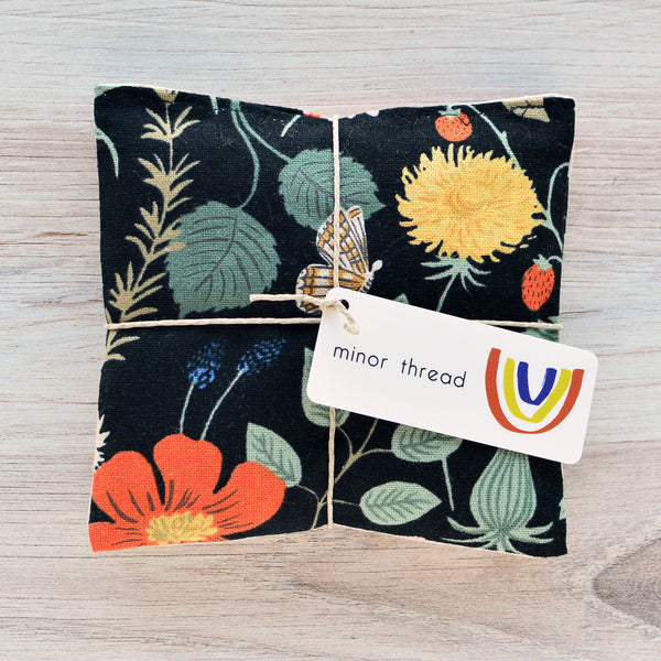 Organic Lavender Sachets - Strawberry Fields Black Set of 2