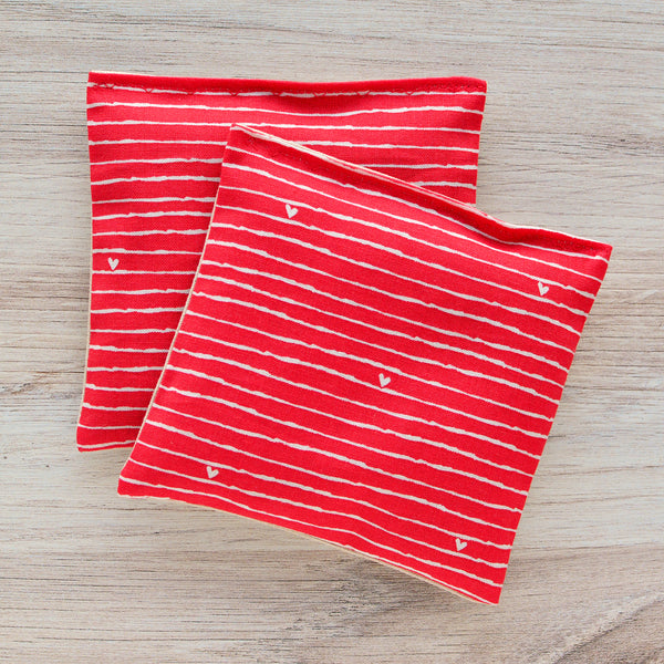 Organic Lavender Sachets - From The Heart Red - Set of 2