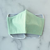 Adult Medium Cotton Face Mask - Mint Grid