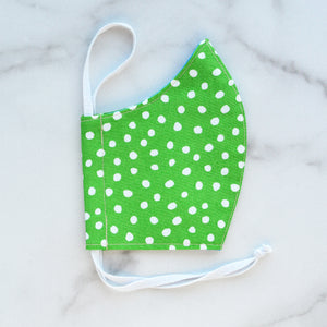 Cotton Face Mask - Green Dots - Choose Your Size