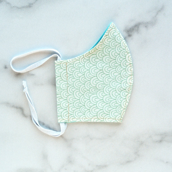 Kid's Small (7-12 Y) Cotton Face Mask - Mint Arches
