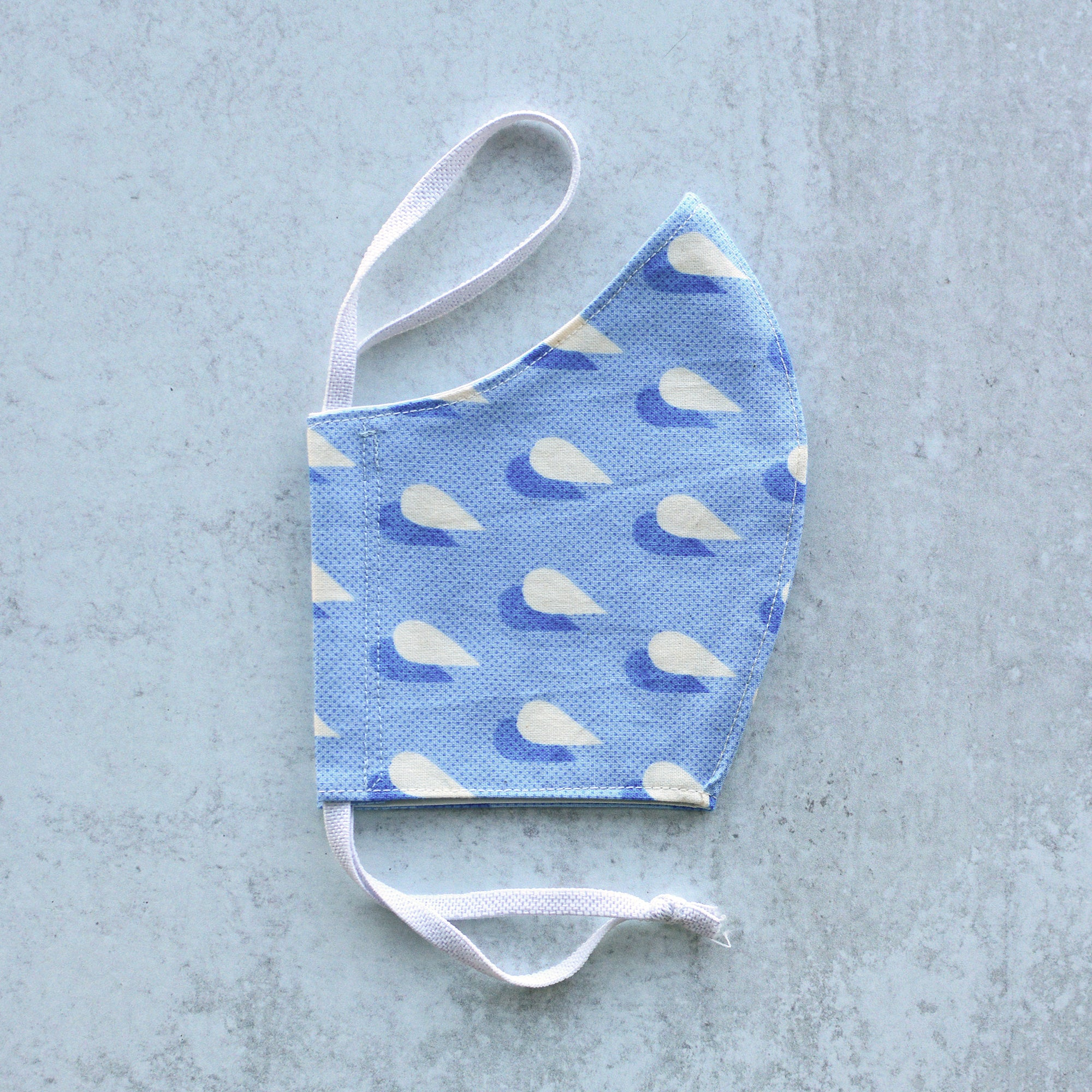 Adult Medium Cotton Face Mask - Blue Raindrops