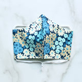 Cotton Face Mask - Navy Floral - Choose Your Size