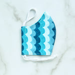 Cotton Face Mask -Blue Waves - Choose Your Size