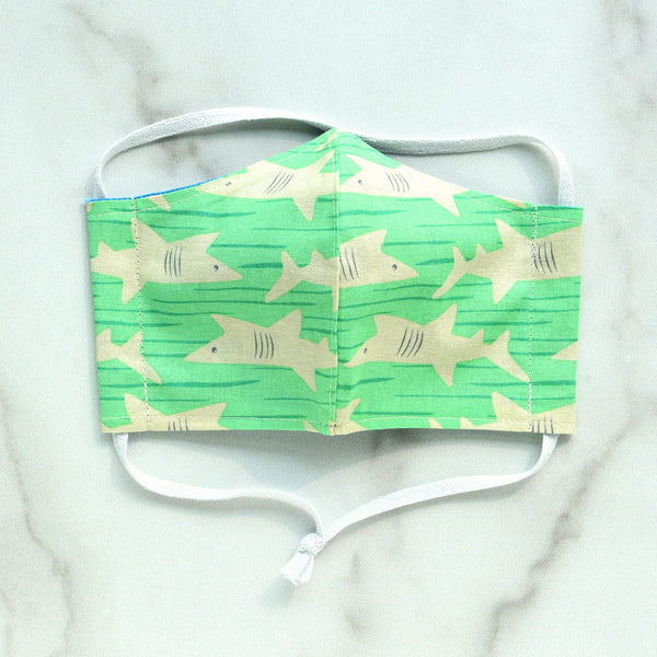 Kid's XS Cotton Face Mask - Green Shark Age 3-6