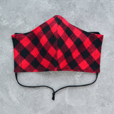 Cotton Face Mask - Red & Black Flannel - Choose Your Size
